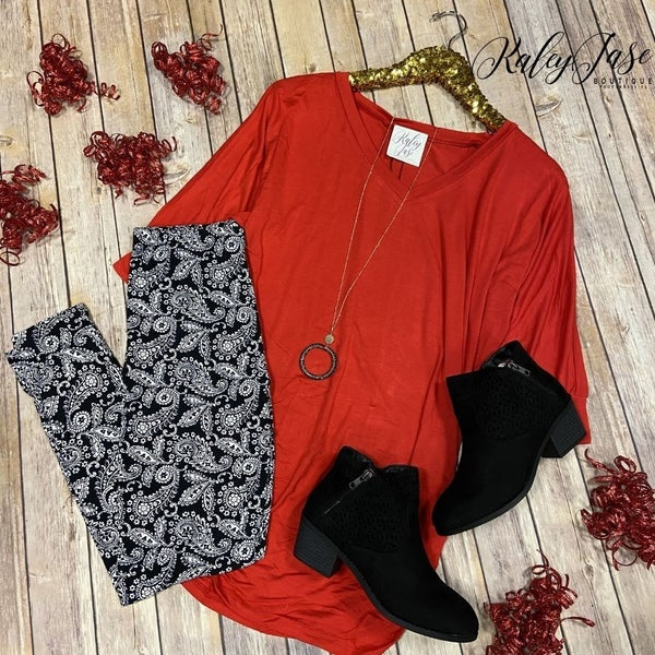 Red V Dolman Neck Top