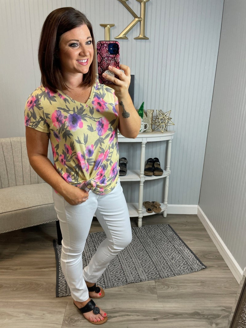 SIL Yellow Pink Floral Vneck Top