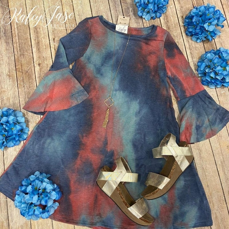 Rust Denim Tie Dye Bell Sleeve Dress