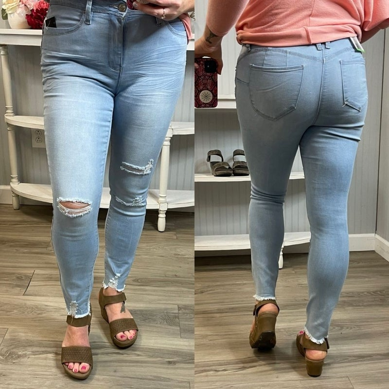 WBB Light Wash High Rise Distressed Jeans