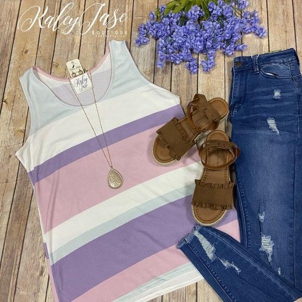 WB Lavender Blush Sage Stripe Tank