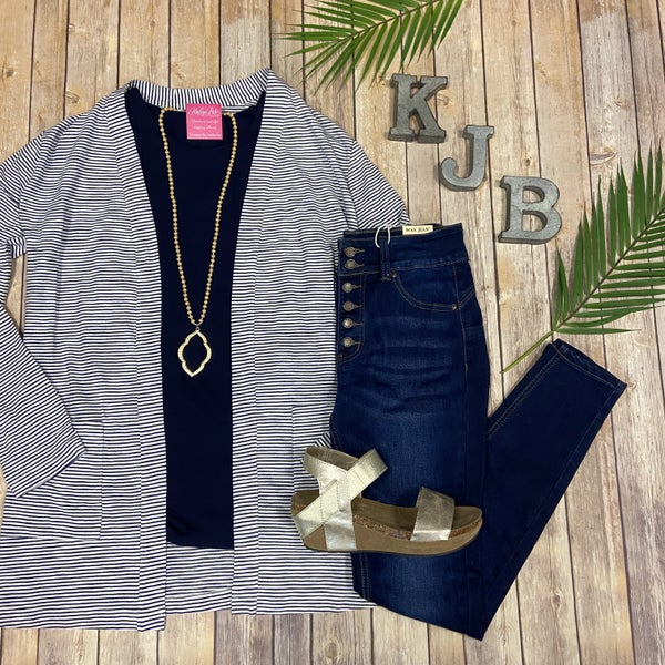 Nautical Navy Stripe Cardigan