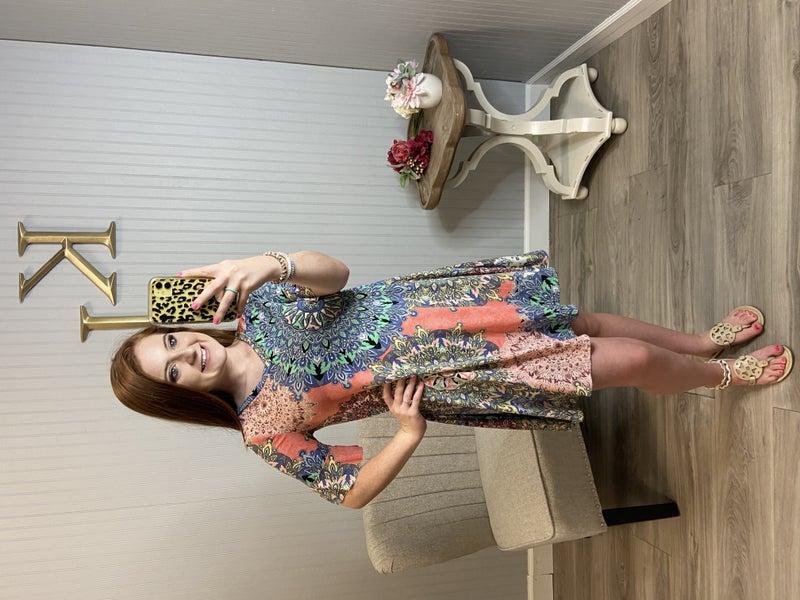 Coral Flower Vneck Dress