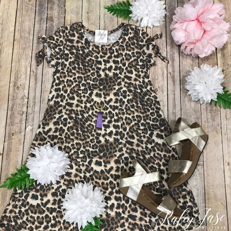 Leopard Bow Sleeve Dress