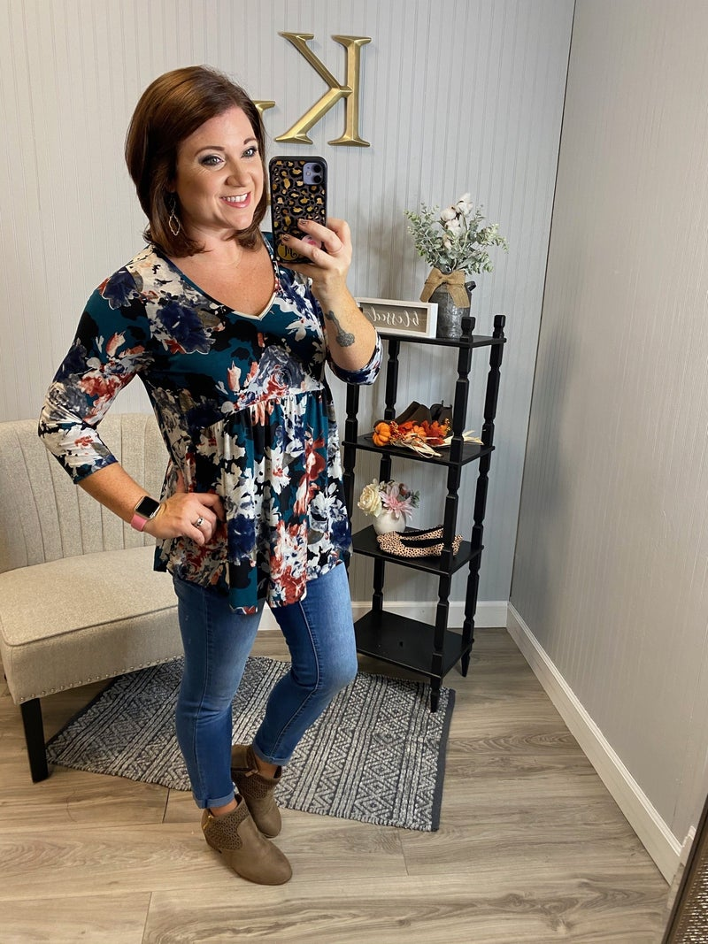 SIL Teal Rust Floral Babydoll Top