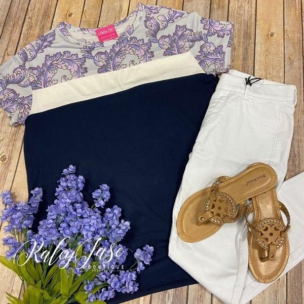 HM Navy Lavender Grey Leaf Paisley Colorblock Top