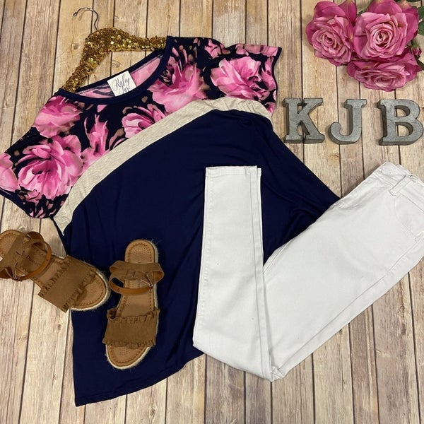 SIL Navy Fuchsia Floral S/S Top