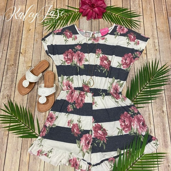 Charcoal Ivory Striped Floral Romper