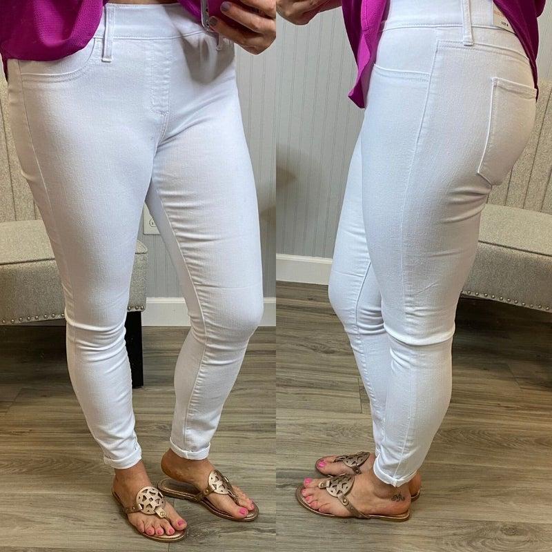 Cello White Skinny Pull On Jeans