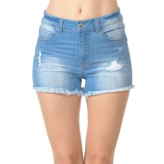 WX  Light Wash Frayed Denim Shorts
