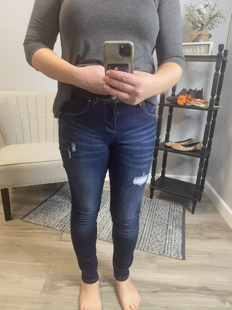 WBB Dark Wash Ripped Full Length Jeans