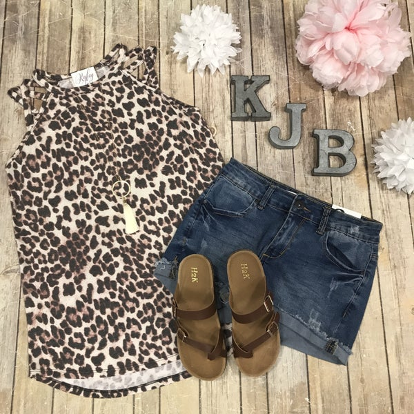 Leopard Cross Shoulder Tank
