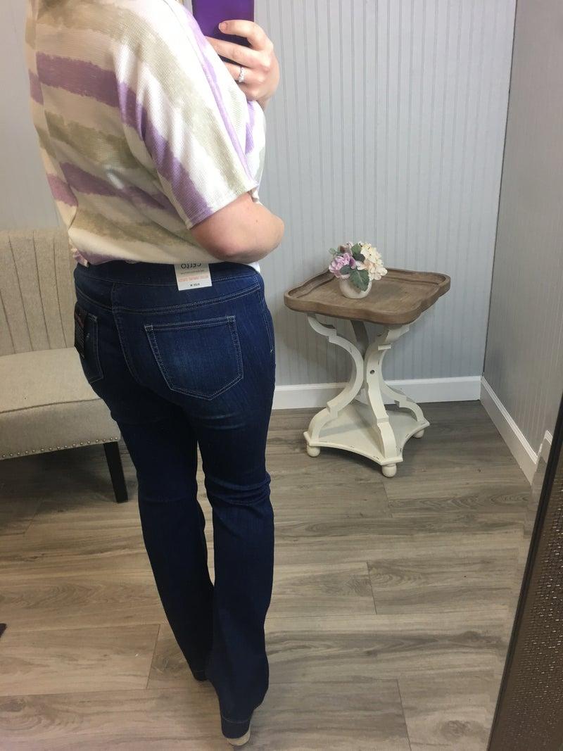 Cello Medium Dark Wash Pull On Flare Jeans