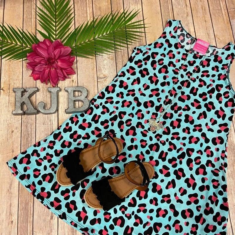 Mint Coral Leopard Sleeveless Dress
