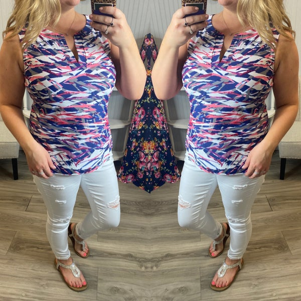 Aryeh Navy Coral Abstract Tank