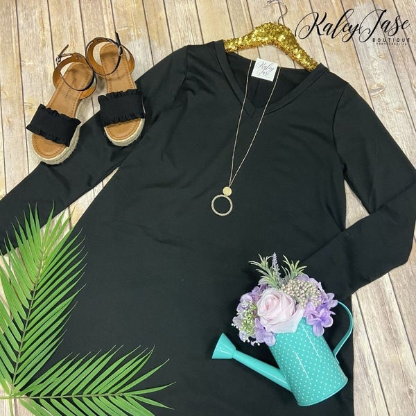 SIL Black Solid Vneck Dress *Final Sale*