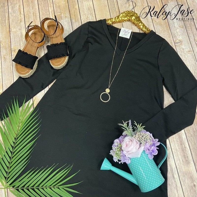 SIL Black Solid Vneck Dress *Final Sale*