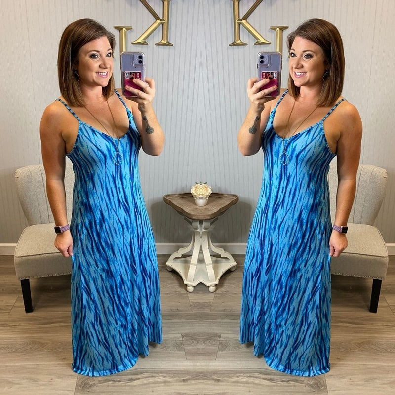 Blue Tie Dye Spaghetti Strap Dress