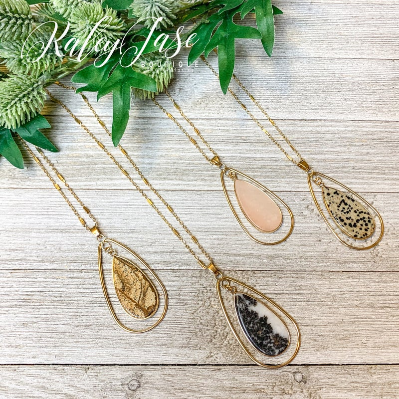 Dangling Gold Teardrop Necklace #15 & #16