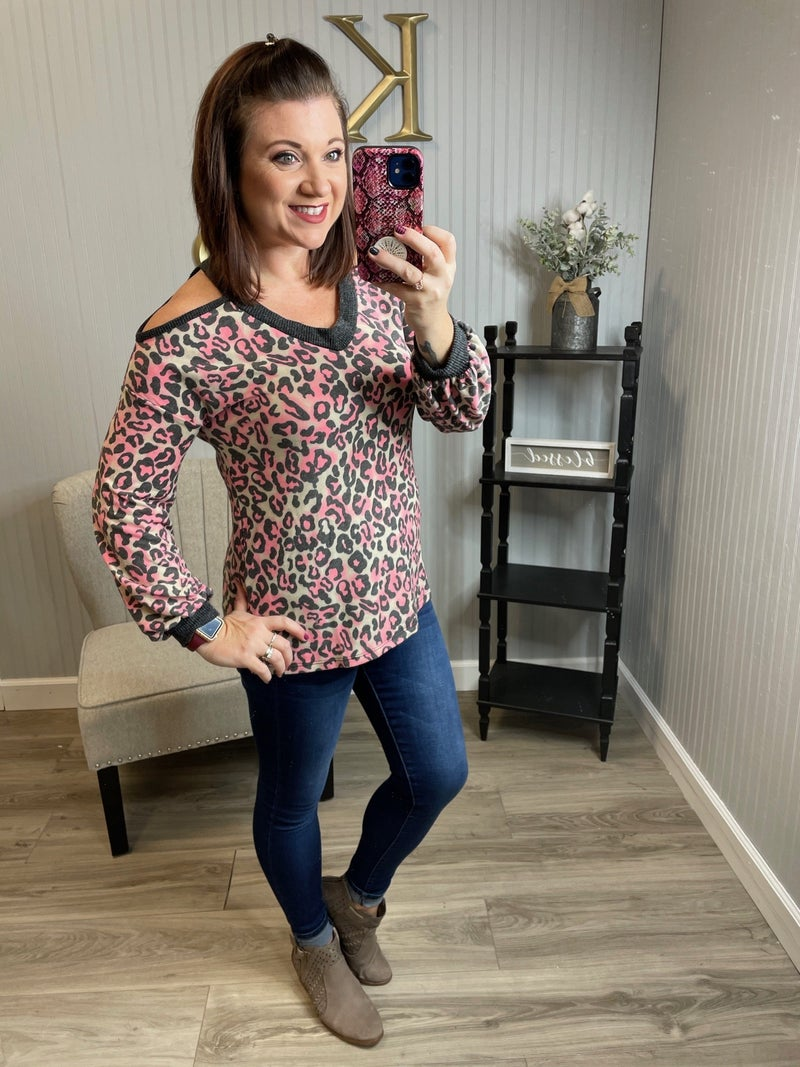 WB Black Neon Leopard Open Shoulder Top