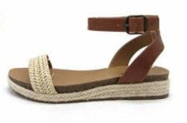 Tan Beige Woven Flat Sandals
