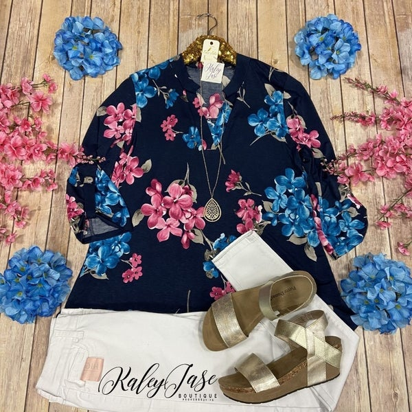 HM Navy Blue Floral Gabby Top