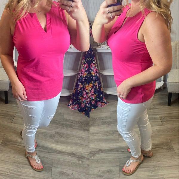 Aryeh Gina Sleeveless Hot Pink Top