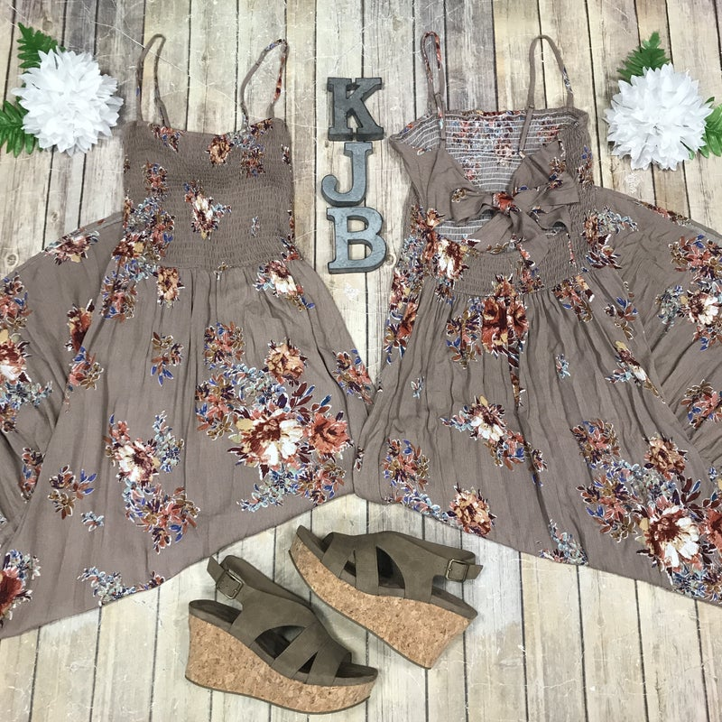 Taupe Floral Tie Back Maxi