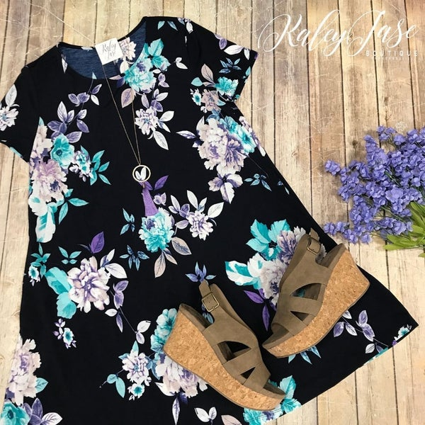HM Navy/Purple Floral Dress