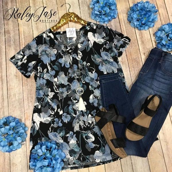 Black Blue Floral Vneck