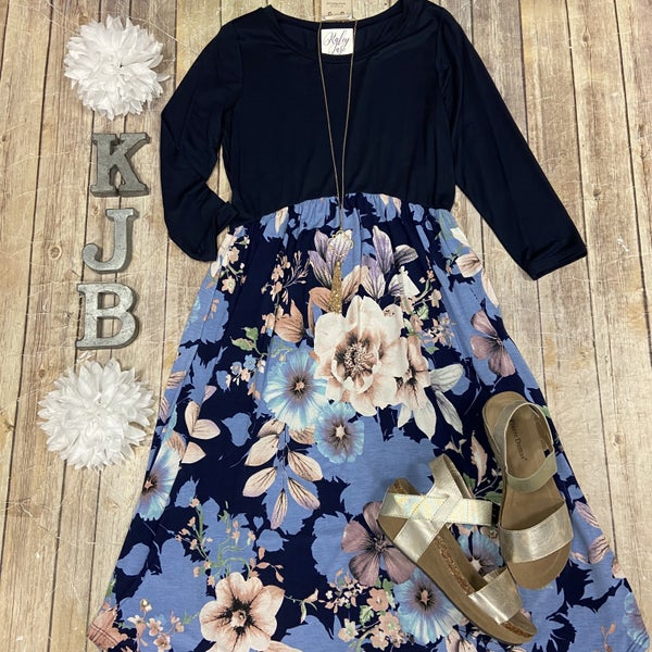 Navy Floral Bottom Midi Dress