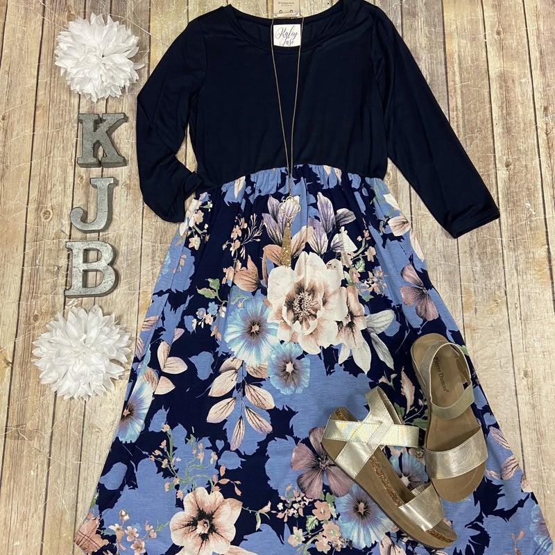 Navy Floral Bottom Midi Dress