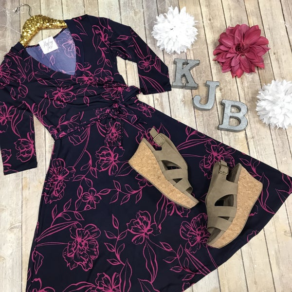 John 3:16 Navy & magenta Wrap dress