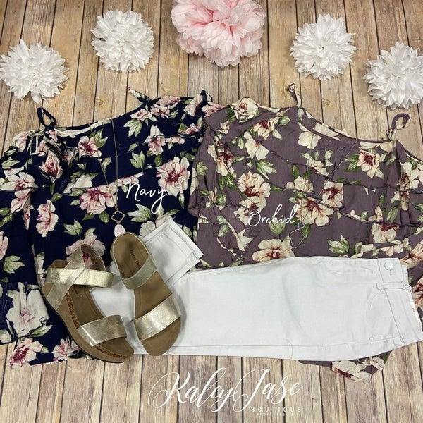 Dressy Floral Cold Shoulder Ruffle Top