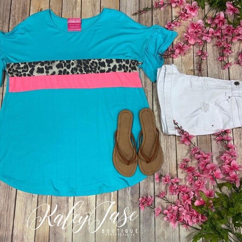 Mint Neon Leopard Front Stripe Ruffle Sleeve Top