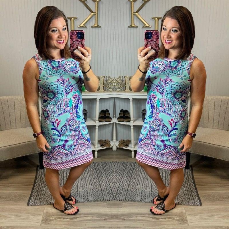 Mia Mint Flower Paisley Sleeveless Shift Dress