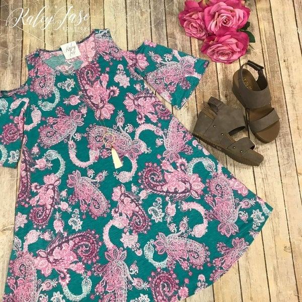 Mint Pink Paisley Open shoulder Dres