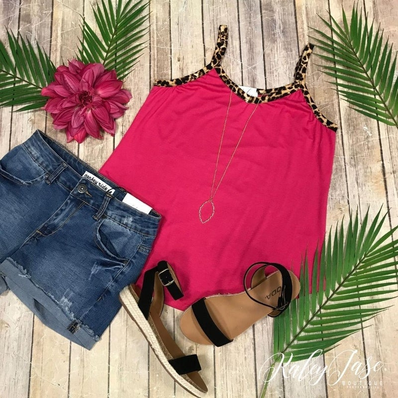 Fuchsia with Leopard Accent Tank