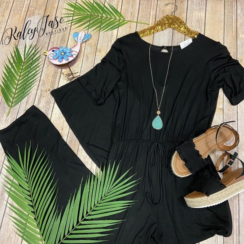 H Black Short Sleeve Jumpsuit
