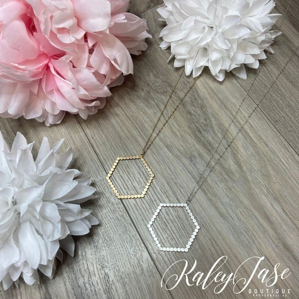Simple Dotted Hexagon Pendant Necklace #4