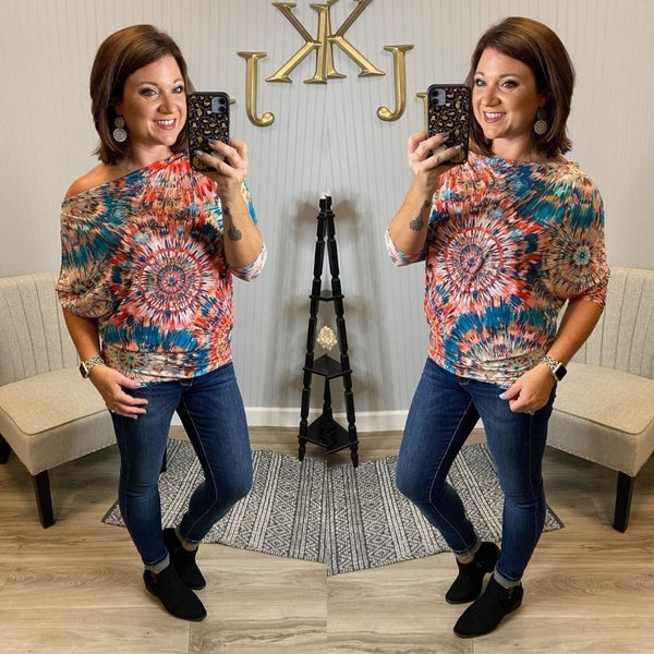 Teal Colorful Burst Slouchy Top