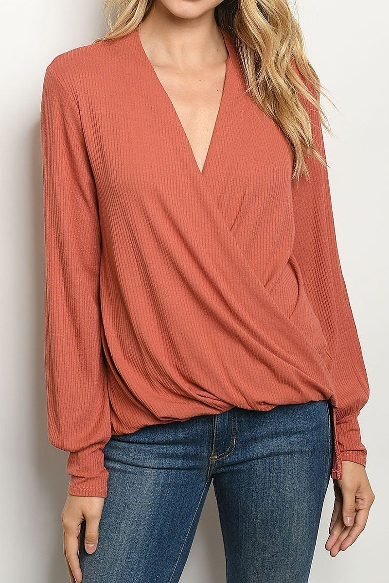 Ribbed Draped Top