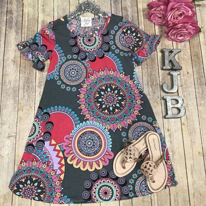 Grey Circle Flower Ruffle Sleeve Dress