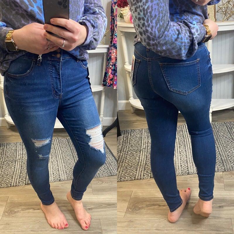 WX Tummy Control Distressed Skinny Jean