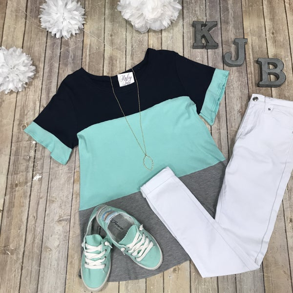 Waffle Navy Mint Colorblock Top