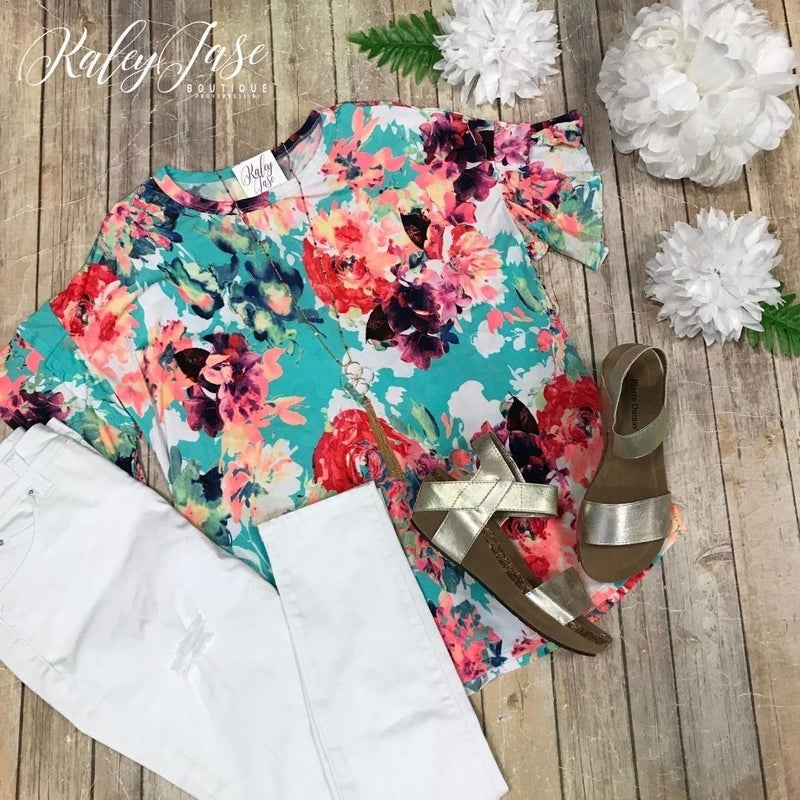 Mint Floral Ruffle Sleeve