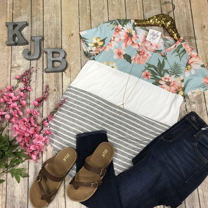Floral Colorblock Stripe Top