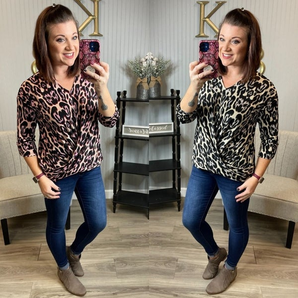Cream Sleek Leopard Dressy Draped Top