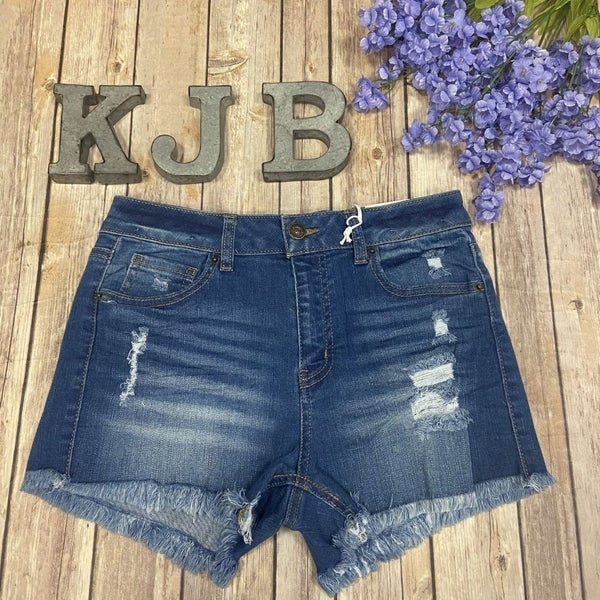 WX Medium Wash Frayed Denim Shorts