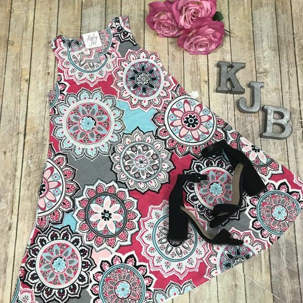 Pink Grey Flower Print Sleeveless Dress
